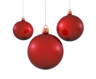 Red christmas balls. Three christmas balls on white background Stock Images