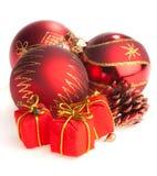 Red Christmas balls Stock Photos