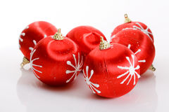 Red Christmas balls. On white Stock Images