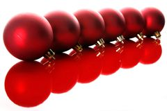 Red christmas balls. With reflections isolated on white Royalty Free Stock Image