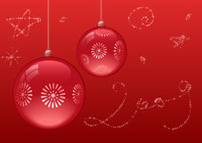 Red christmas balls. On red backgroung. All elements are separate objects and grouped.No transparency Stock Image