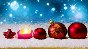 Red christmas balls and Advent candle. royalty free illustration