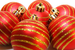 Red christmas balls background Stock Photo