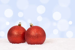 Red Christmas balls background decoration with copyspace Royalty Free Stock Image