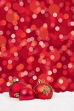 Red Christmas balls background lights decoration card Stock Photography