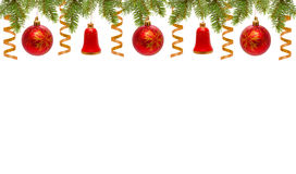 Red Christmas balls and bells. Stock Images