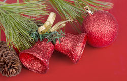 Red Christmas Balls and Bells Royalty Free Stock Photo