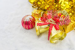 red christmas balls and bells merry christmas Royalty Free Stock Photos