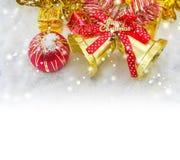 red christmas balls and bells merry christmas Stock Photos