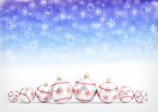 Red christmas balls on bokeh background with snowflakes. 3D illustration Royalty Free Stock Image
