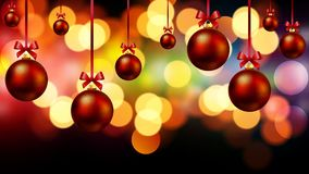 Red christmas balls on bokeh background. Vector art illustration Royalty Free Stock Photography