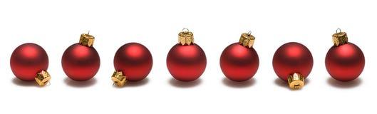 Red Christmas Balls Border Stock Image
