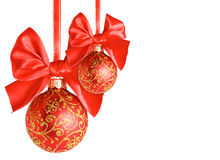Red Christmas balls with bows Royalty Free Stock Image
