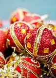Red Christmas balls. In box. New Year decoration Stock Image
