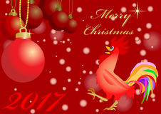 Red christmas balls  with cock Stock Photos