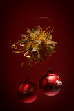 Red christmas balls on dark background Royalty Free Stock Images