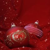 Red Christmas Balls on Fabric Stock Image