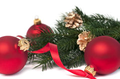 Red christmas balls and fir Royalty Free Stock Photography