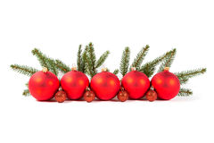 Red Christmas balls and fir branch Stock Image