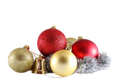 Red Christmas balls with fir branch on white background. Stock Photo