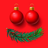 Red Christmas balls and fir twig. Illustration Stock Photos