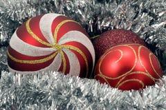 Red Christmas balls and garland Royalty Free Stock Photo