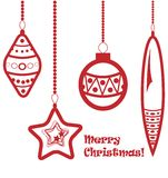 Red christmas balls garland. Isolated on white Vector Illustration