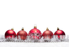 Red Christmas balls with garland Stock Photo