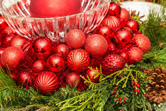 Red Christmas Balls and Glass Bowl Royalty Free Stock Image