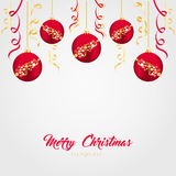Red Christmas balls with gold ribbons on a light background. Vector illustration on the theme of Christmas and New Year.Christmas Stock Image