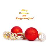 Red Christmas balls with golden streamer. Isolated on a white background Royalty Free Stock Photography