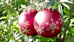 Red christmas balls on green summer background stock video