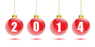 Red christmas balls hanging with 2014 numbers Stock Photography