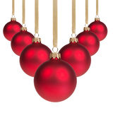 Red christmas balls hanging on ribbon v shape Stock Images
