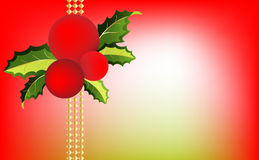 Red Christmas balls and holly. Leaves embellished with gold accents Royalty Free Stock Photo