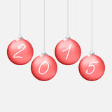 Red Christmas balls 2015. Red Christmas balls with 2015 inscription Royalty Free Stock Images