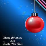 Red Christmas  balls  isolate on blue background and christmas tree Stock Photo
