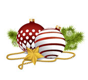 Red christmas balls on isolated background Royalty Free Stock Photography