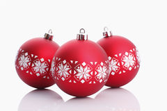 Red christmas balls isolated on white Royalty Free Stock Images