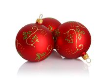 Red christmas balls. Isolated on white background Royalty Free Stock Images