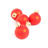 Red Christmas balls  isolated on white Royalty Free Stock Photos