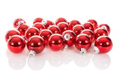 Red Christmas balls isolated at a white background Stock Image