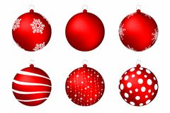 Red christmas balls isolated on white background. Set of christmas balls with snowflakes, circles and abstract patterns. Vector Stock Photos
