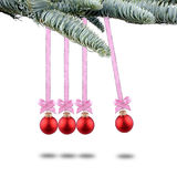 Red Christmas balls new years and Newton pendulum. Red Christmas balls new year's eve Newton pendulum Stock Image