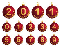 Red Christmas Balls with numerals 0-9 Royalty Free Stock Photo