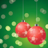 Red Christmas Balls On The Green Background Stock Images