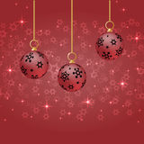 Red christmas balls with ornament hanging on red background. Red christmas background. Red christmas balls hanging. Christmas card vector. Red new year Royalty Free Stock Images