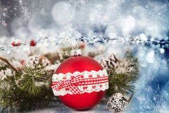 Red Christmas balls over sparkling holiday background Stock Images