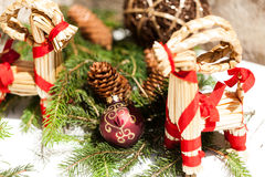 Red Christmas balls with pine cones Royalty Free Stock Photos