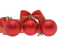 Red christmas balls and ribbon Royalty Free Stock Photography